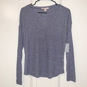 Forever 21 Blue Long Sleeve Top Shirt Waffle Knit